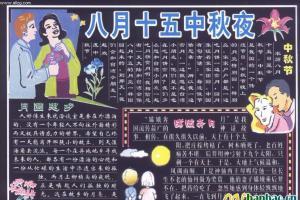 部队中秋节黑板报设计精品:八月十五中秋夜