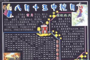 中秋节专题黑板报设计:八月十五中秋月