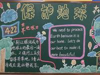 小学生保护地球世界地球日黑板报