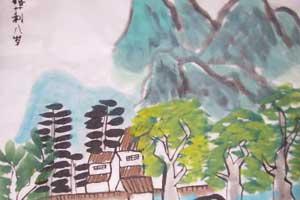 江南烟雨儿童中国画 儿童国画图片