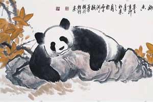 休息的大熊猫中国画 熊猫国画图片