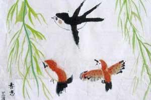 燕子飞来春意闹中国画 春意儿童国画