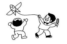 放风筝简笔画_放风筝的两个小孩简笔画图片