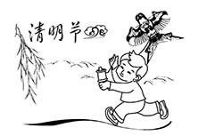 清明节放风筝简笔画图片