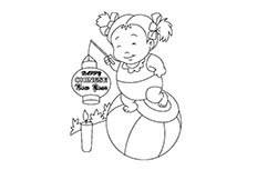 挑灯笼的小朋友过新年简笔画图片