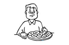 吃饼的人简笔画图片 思考的男人简单画