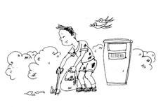 讲卫生捡垃圾简笔画步骤图片大全