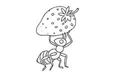 蚂蚁和草莓简笔画图片 蚂蚁和草莓怎么画