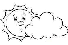卡通太阳和云朵简笔画图片