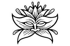 蝴蝶面具简笔画图片 玫瑰面具简笔画
