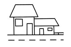 路边小房子简笔画步骤图片 小洋房怎么画