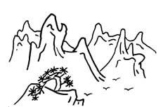 大山山峰风景简笔画图片 山峰场景怎么画