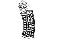 卡通鞭炮简笔画 新年鞭炮手抄报插图