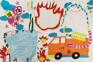 漂亮的小学生消防安全手抄报版面设计图