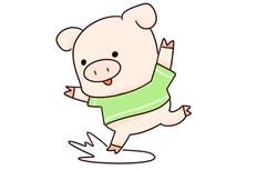 跳跃的卡通小猪简笔画步骤教程