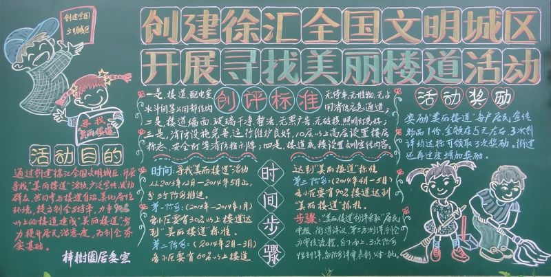创建徐汇全国文明城区开展寻找美丽楼道活动黑板报图片