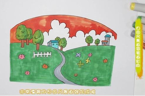 田园风景简笔画图片怎么画