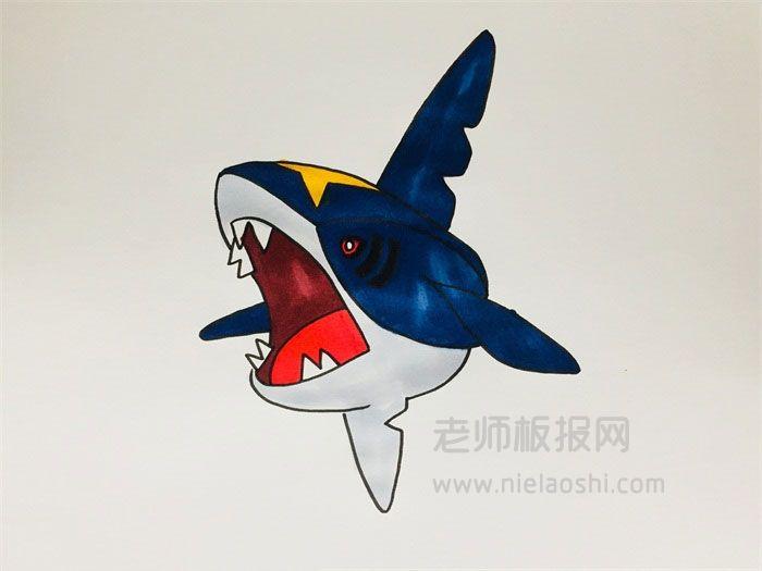 巨齿鲨简笔画图片 巨齿鲨怎么画的e