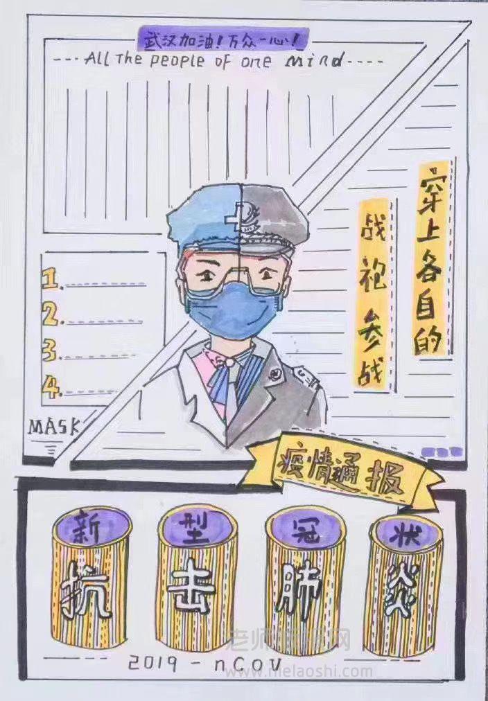 抗击肺炎手抄报版面设计图片