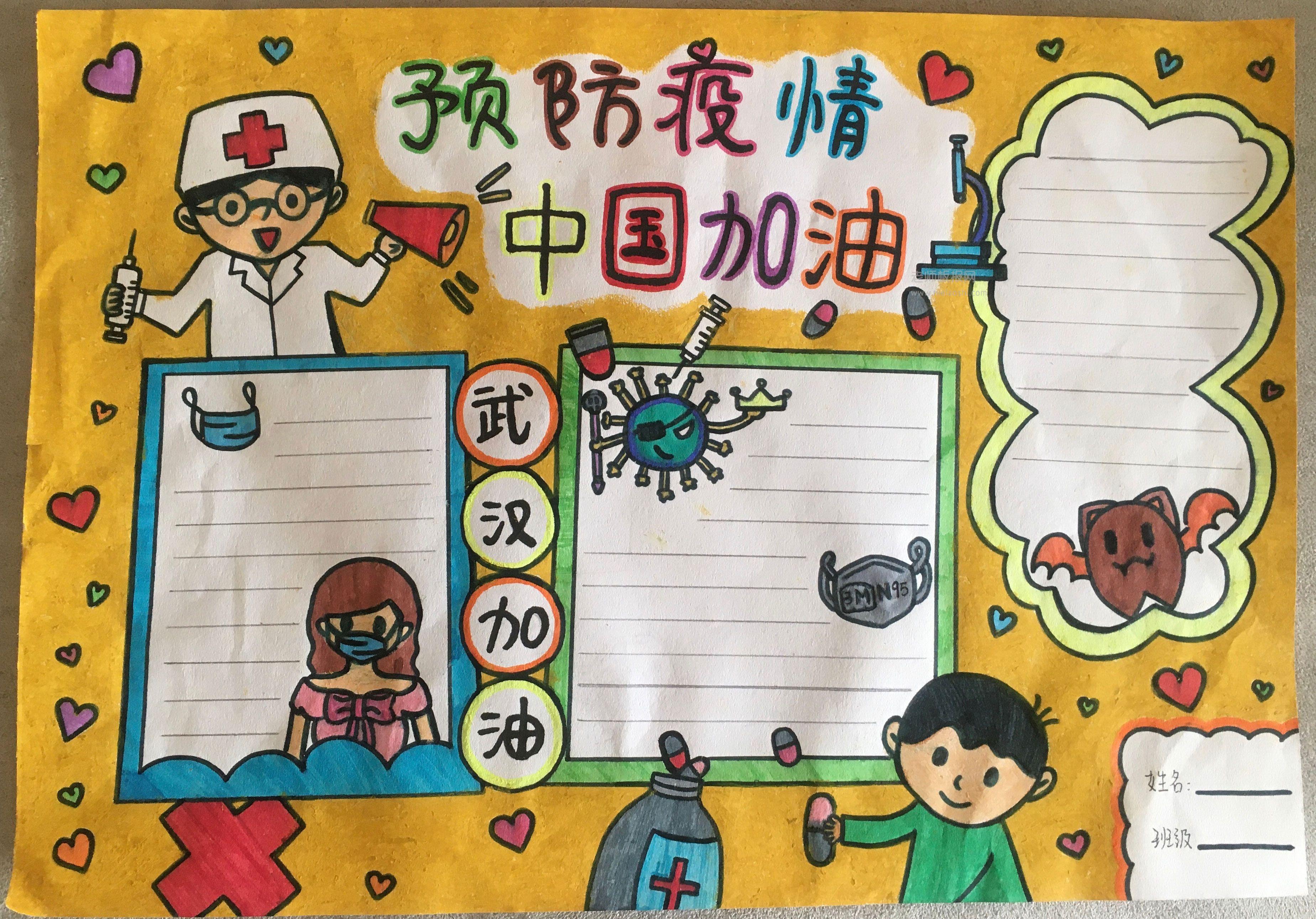 预防疫情 中国加油手抄报版面设计图片