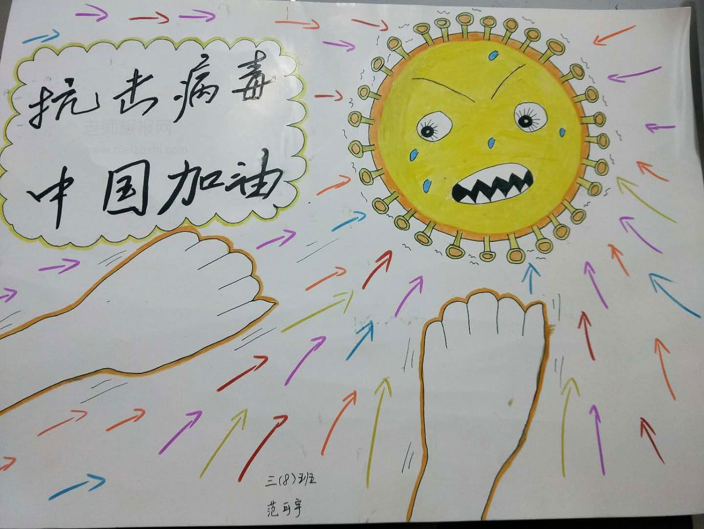抗击病毒 中国加油 手抄报图片