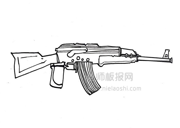 akm突击步枪简笔图片 akm步枪怎么画