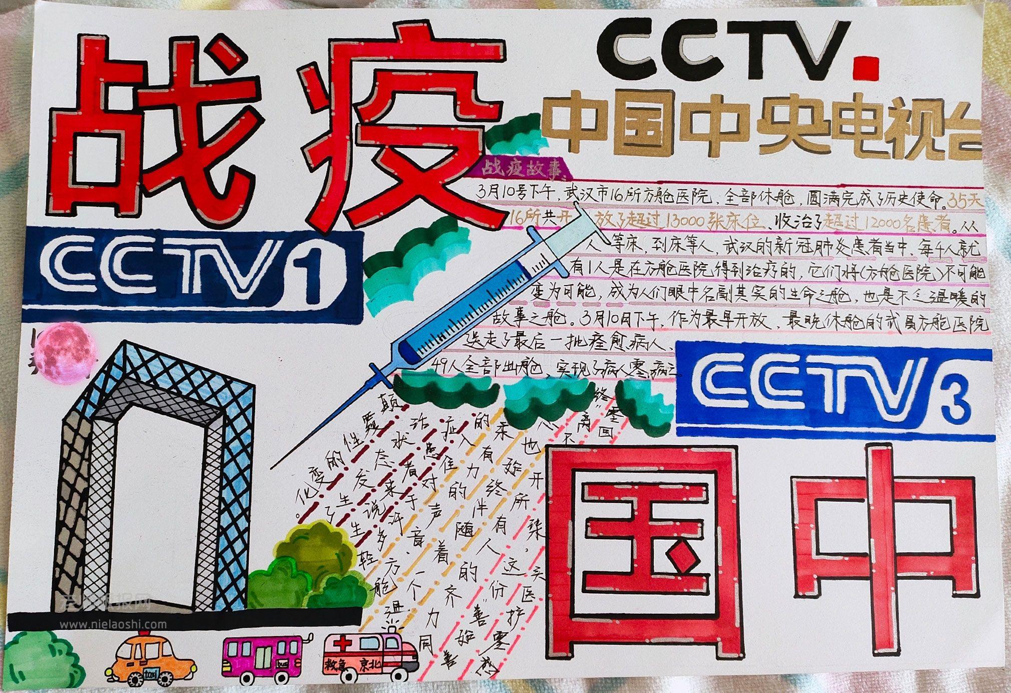 中国战疫手抄报图片 中国CCTV