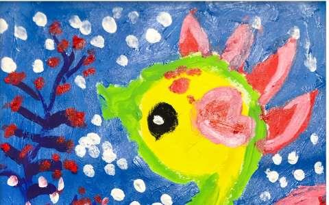 儿童水彩画:可爱的海马