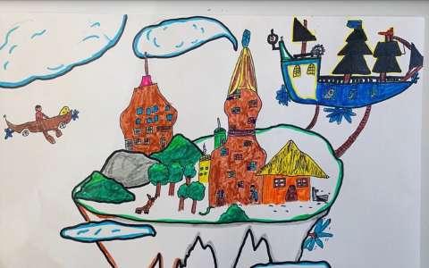 儿童水彩画:美丽的空中花园