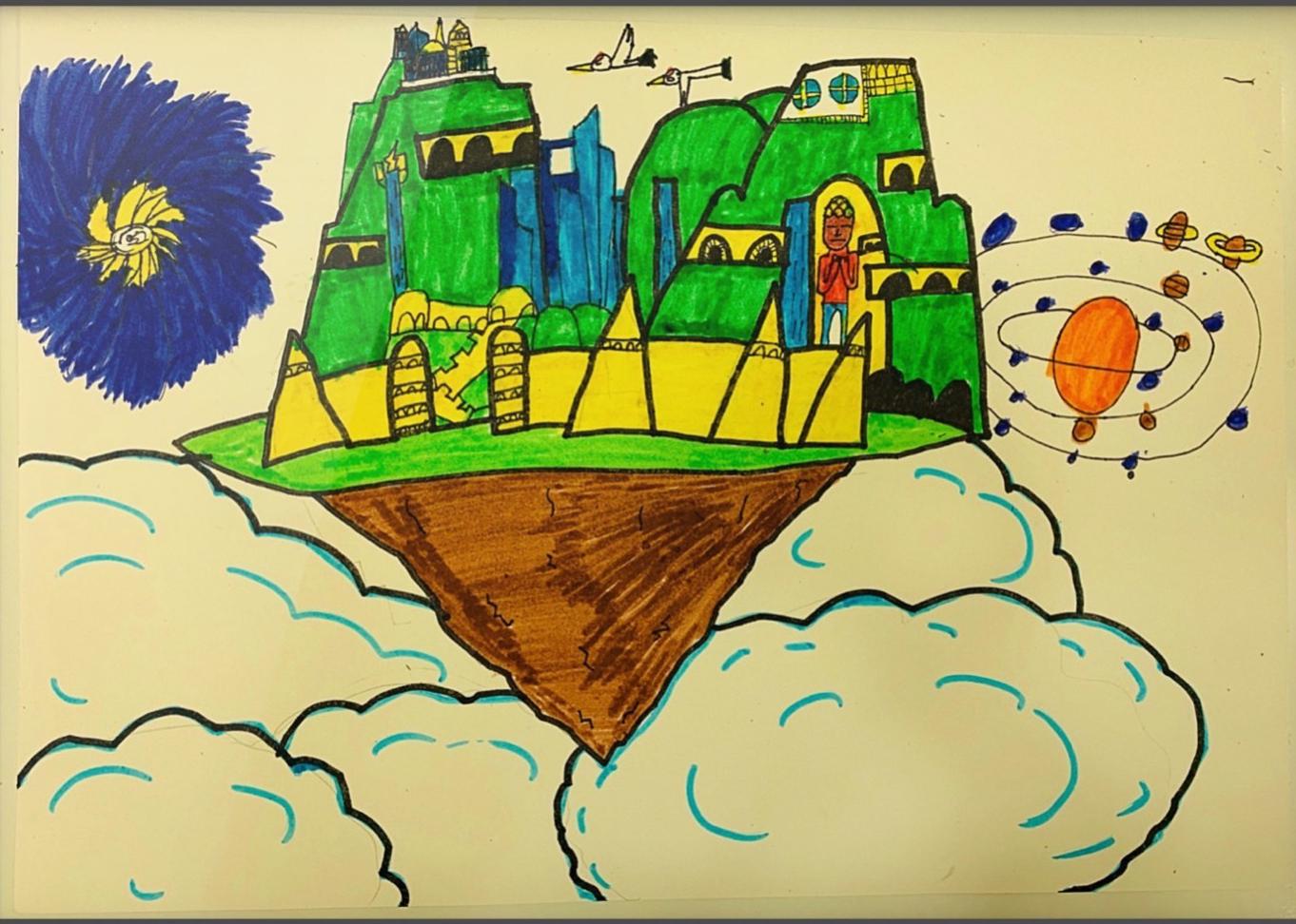 儿童水彩画: 空中花园