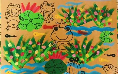 儿童水彩画:池塘景色