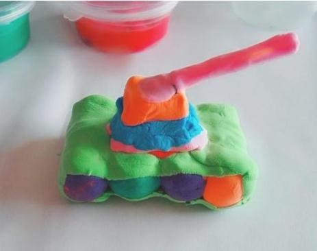 彩色粘土坦克制作方法