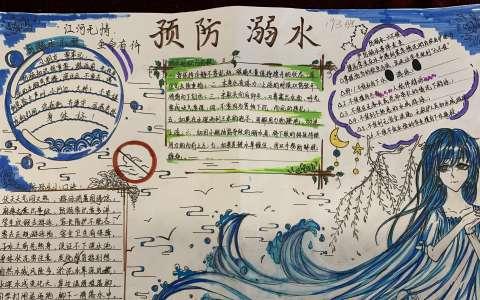 预防溺水手抄报图片 江河无情 生命有价