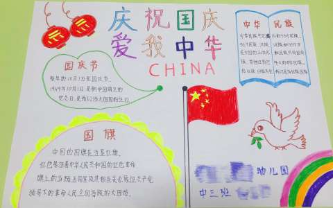 庆祝国庆 爱我中华手抄报图片