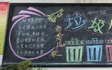 漂亮的垃圾分类黑板报图片