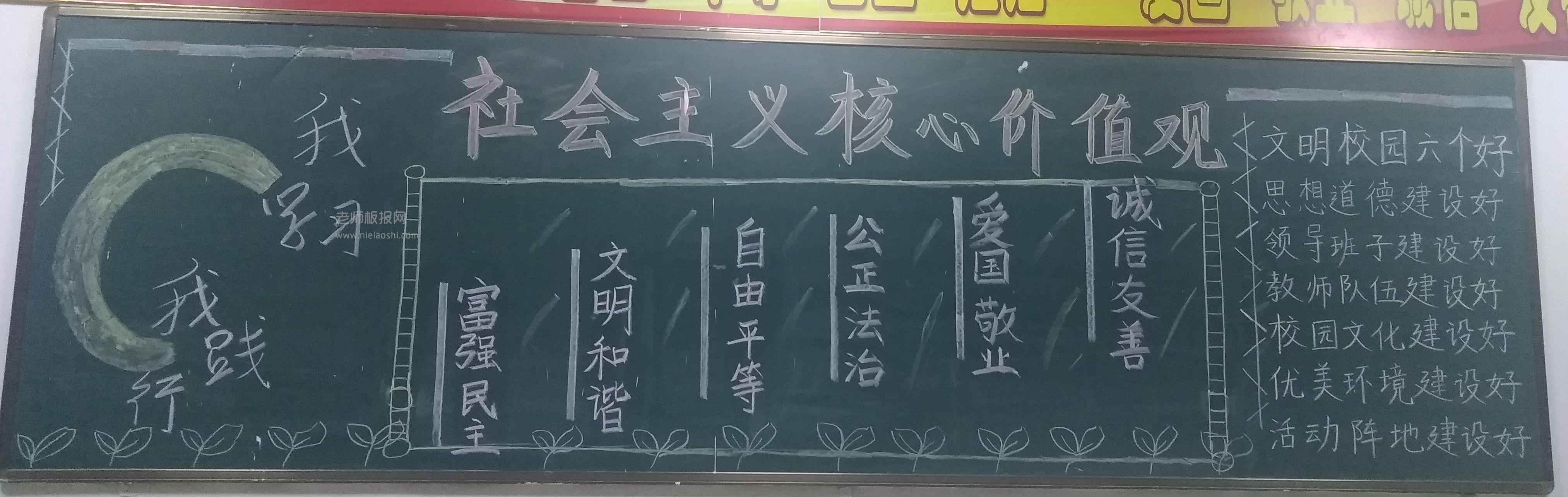 校园黑板报 社会主义核心价值观