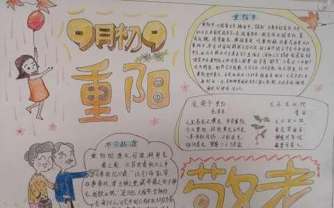 9月初9重阳敬老手抄报图片