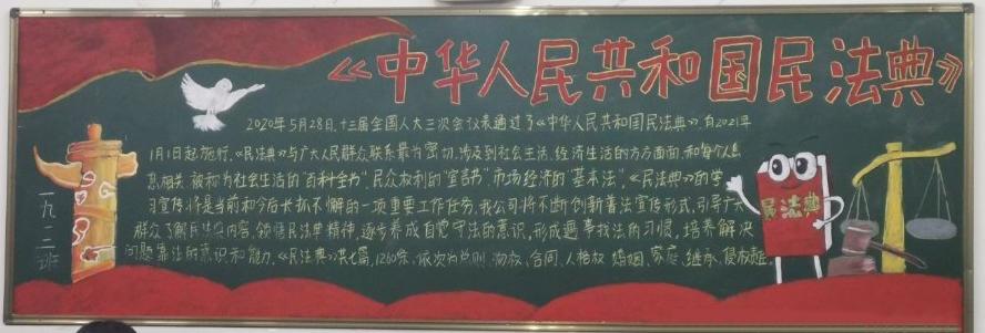 中华人民共和国民法典黑板报高清图片