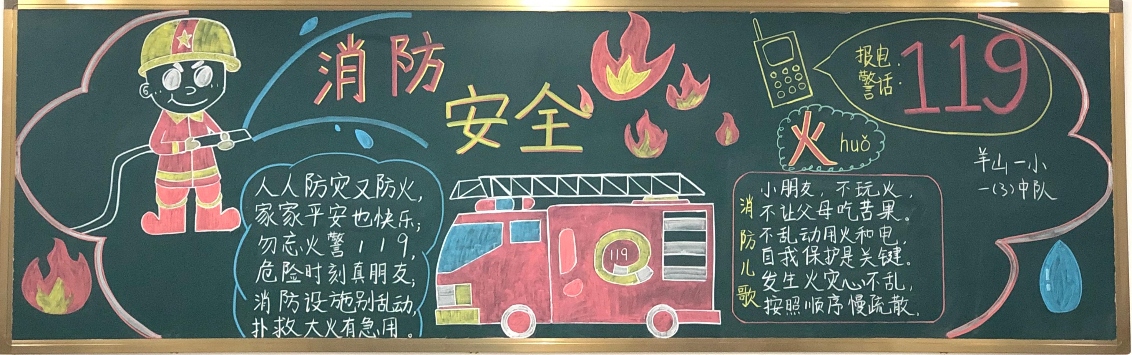 消防安全119黑板报