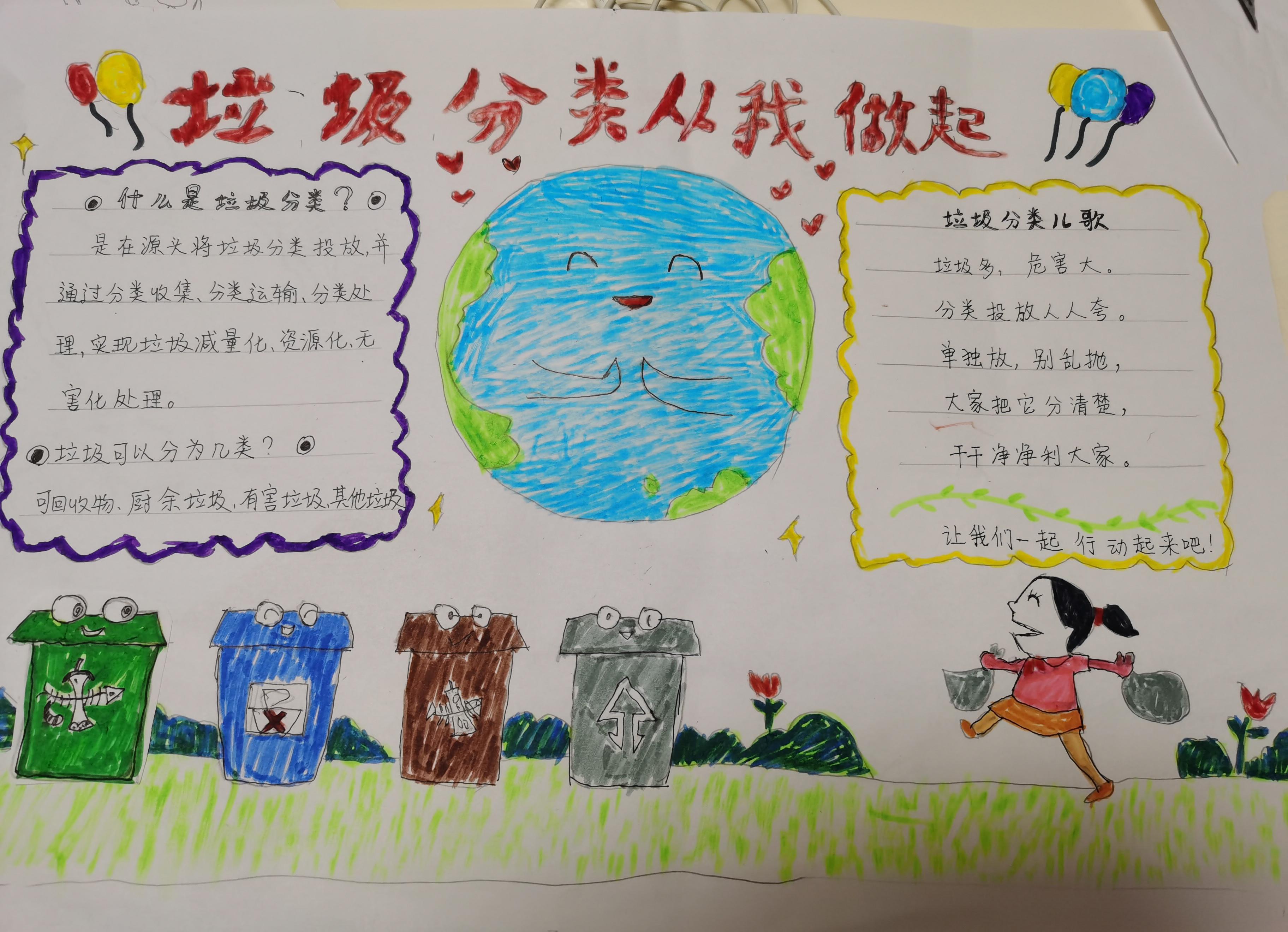 小学生垃圾分类从我做起手抄报图片