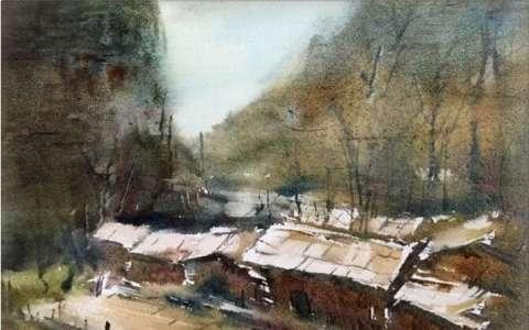 孔凡静水彩画风景作品,恬静的乡村生活