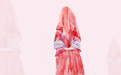 古风新娘水彩画图片
