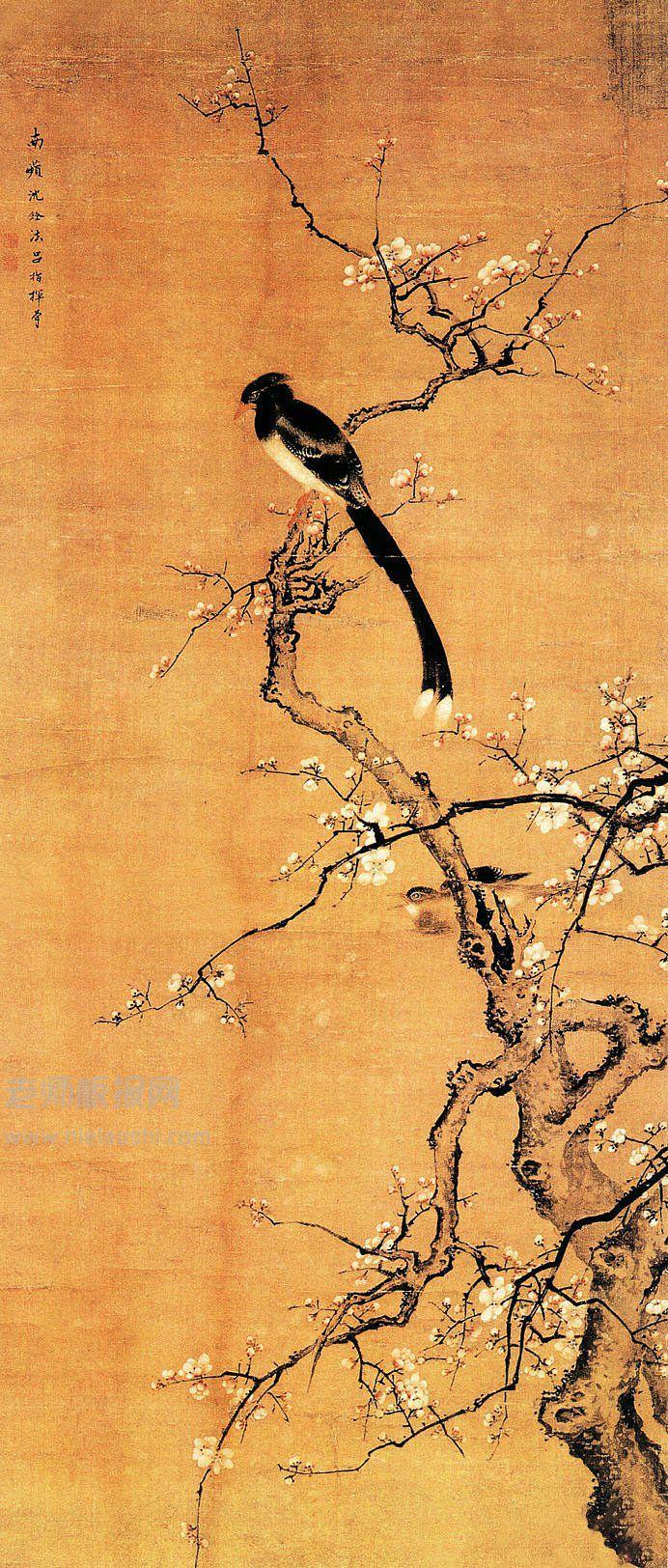 中国画 梅花喜上枝头