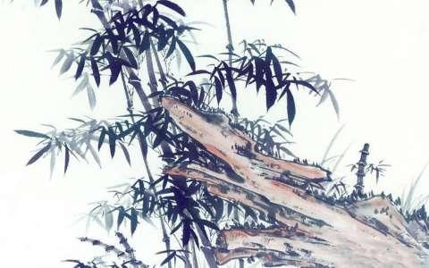 竹子与假山国画