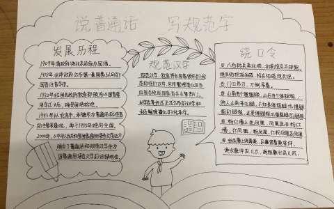 说普通话写规范字手抄报黑白图片