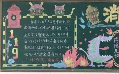 关于消防安全主题黑板报图片