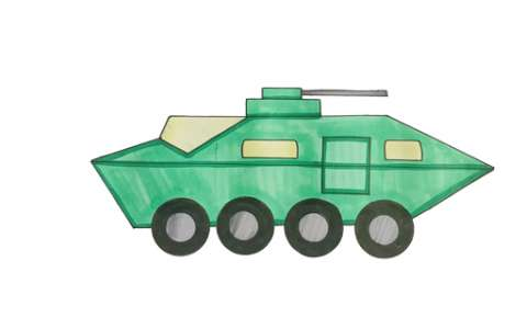 特警战车简笔画图片 特警战车是怎么画的
