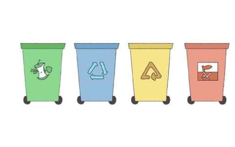 分类垃圾桶简笔画图片 垃圾桶是怎么画的