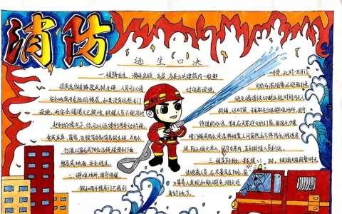 最新消防安全手抄报图片  关于消防安全逃生知识