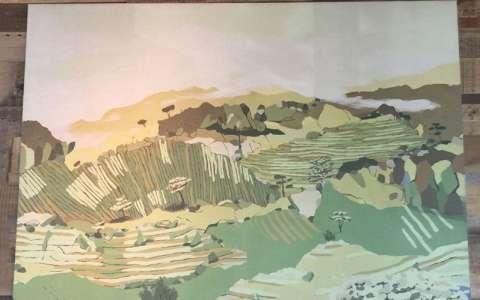 水粉风景画,宁静的田园生活